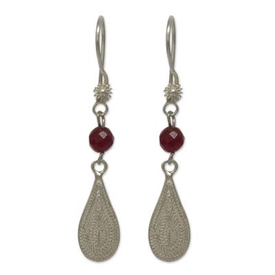 Filigree Sterling Silver Earrings with Bright Red Gemstones