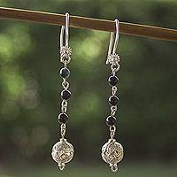 Obsidian filigree earrings, 'Cosmic Spheres' - Obsidian and Sterling Silver Filigree Earrings from Mexico