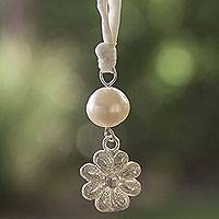 Cultured pearl filigree necklace, 'Pristine Marigold' - Filigree Flower Necklace Hand Made with Silver and Pearl