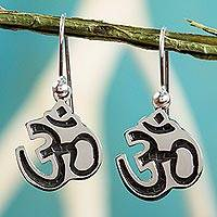 Sterling silver dangle earrings, 'Om Whisper' - Inspirational Dangle Earrings Taxco Sterling Silver Jewelry
