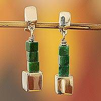 Jade dangle earrings, 'Cubism' - Mexican Sterling Silver and Jade Hand Crafted Earrings