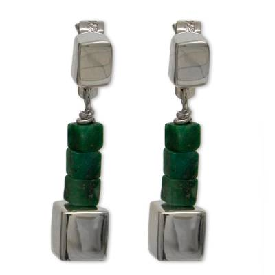Mexican Sterling Silver and Jade Hand Crafted Earrings