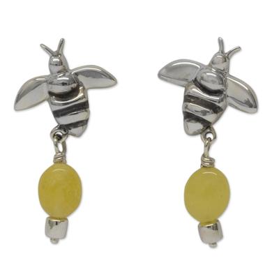 Sterling Silver Bee Earrings with Yellow Jade Gemstones