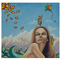 'Day at the Beach' - Mexican Surreal Oil Portrait of a Woman