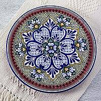 Ceramic dinner plate, 'Imperial Flower' - Artisan Crafted Authentic Mexican Talavera Style Plate