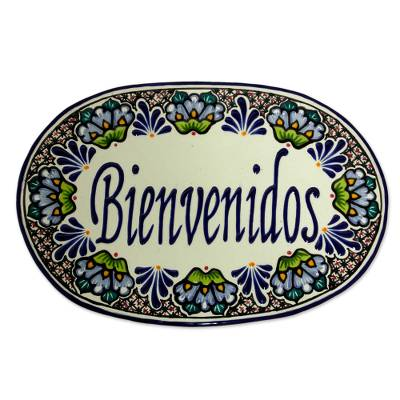 Authentic Mexican Talavera Style Ceramic Welcome Sign