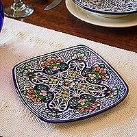 Ceramic plate, 'Floral Garden' - Authentic Mexican Talavera Style Floral Ceramic Plate