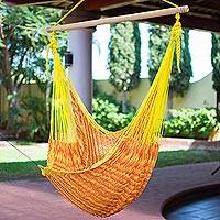 Cotton hammock swing chair, 'Maya Sunflower' - Yellow Orange Hand Woven Cotton Hammock Swing Chair