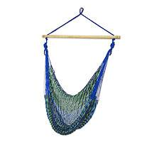 Cotton hammock swing chair, 'Maya Breeze' - Mexican Blue Green Hand Woven Cotton Hammock Swing Chair