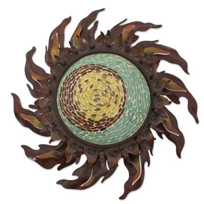 Iron wall lamp, 'Eye of the Sun' - Glass Mosaic Hand Crafted Iron Sun Wall Lamp Sculpture