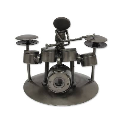 Upcycled auto parts statuette, 'Rustic Drummer' - Hand Crafted Upcycled Metal Drummer Sculpture from Mexico