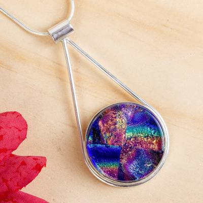 Dichroic art glass pendant necklace, 'Blue Rainbows' - Artisan Crafted Silver and Dichroic Art Glass Necklace