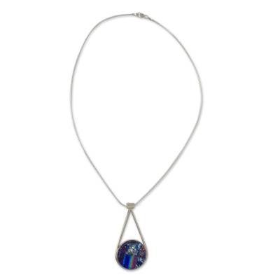 Artisan Crafted Silver and Dichroic Art Glass Necklace