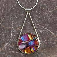 Dichroic art glass pendant necklace, 'Splendor' - Hand Crafted Multicolor Dichroic Glass and Silver Necklace