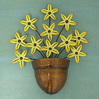 Iron wall sculpture, 'Black-Eyed Susan' - Yellow Flower Iron Wall Sculpture Crafted by Hand