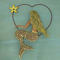 Iron and glass mosaic wall sculpture, 'Mermaid Love' - Handmade Iron and Glass Mosaic Mermaid Heart Wall Sculpture