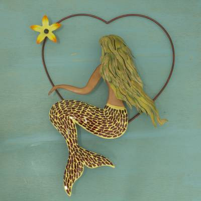 Iron and glass mosaic wall sculpture, Mermaid Love