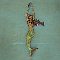 Iron wall sculpture, 'Mermaid with Butterflies' - Hand Made Mermaid and Butterfly Iron Wall Sculpture