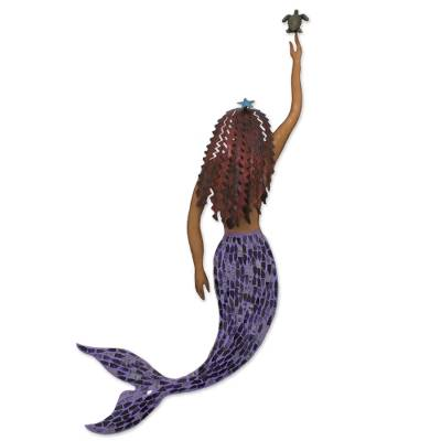 Iron and glass mosaic wall sculpture, 'Mermaid and Turtle' - Handmade Iron and Glass Mosaic Mermaid Wall Sculpture