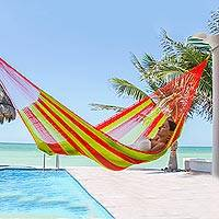 Hammock, 'Cancun Citrus' (double) - Yellow and Orange Handcrafted Nylon Maya Double Hammock