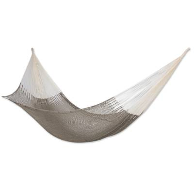Cotton hammock, 'Maya Mist' (double) - Mexican Hand Woven Grey Cotton Maya Hammock (Double)