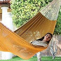 Cotton hammock Maya Mustard double Mexico