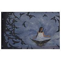 'Vortex' (2012) - Woman with Birds Painting Mexico Magical Realism Fine Art