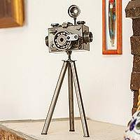 Upcycled metal sculpture, 'Rustic Camera' (large) - Mexico Eco Friendly Upcycled Metal Camera Sculpture