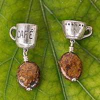 Jasper dangle earrings, 'Strong Coffee' - Jasper and Sterling Silver Coffee Theme Dangle Earrings