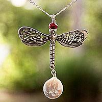Cultured pearl pendant necklace, 'Fantastic Dragonfly' - Pearl and Sterling Silver Dragonfly Pendant Necklace
