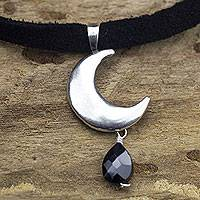 Spinel pendant necklace, 'Mexican Crescent' - Artisan Crafted Sterling Silver Moon Necklace with Spinel