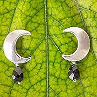 Spinel dangle earrings, 'Mexican Crescent' - Artisan Crafted Sterling Silver Moon Earrings with Spinel