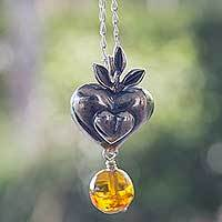 Amber heart necklace,