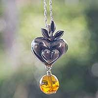 Amber heart necklace, 'Flourishing Heart' (Mexico)