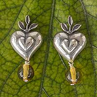 Amber heart earrings, 'Flourishing Hearts' - Antiqued Sterling Silver Heart Earrings with Amber