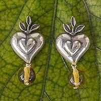 Amber heart earrings,
