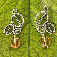 Amber dangle earrings, 'Grains of Taste' - Sterling Silver Coffee Bean Theme Earrings with Amber