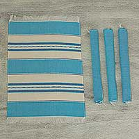 Zapotec cotton placements, 'Oaxaca Sky' (set of 4) - Set of 4 Hand Woven Cotton Blue and Beige Zapotec Placemats