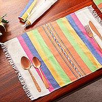 Zapotec cotton placements, 'Fiesta Hues' (set of 4) - Handwoven Placements in Multicolor Stripes