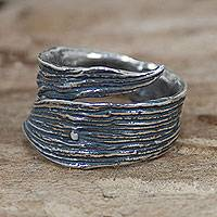 Sterling silver wrap ring, 'Maize Leaf' - Antiqued Sterling Silver Leaf Shaped Wrap Ring from Mexico