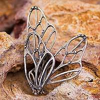Sterling silver cocktail ring, 'Monarch Wings' - Butterfly Wings Sterling Silver Ring Mexican Jewelry