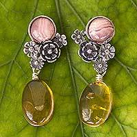 Amber and rhodochrosite flower earrings, 'Flowers of Harmony' - Amber and Rhodochrosite on Antiqued Sterling Silver Earrings