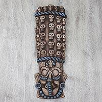 Ceramic mask, 'Maya Tzompantli' - Mexican Maya and Aztec Ceramic Skull Motif Mask