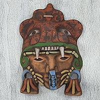Ceramic mask, 'Aztec Jaguar Warrior' - Artisan Crafted Mexican Ceramic Aztec Jaguar Warrior Mask