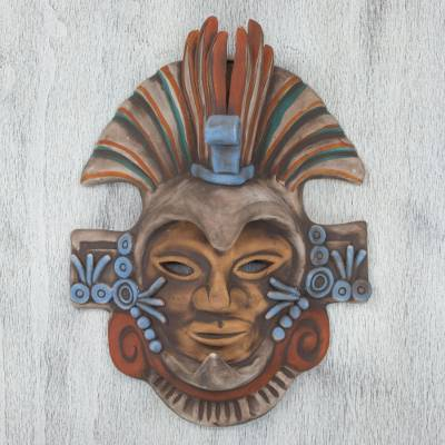 Ceramic mask, 'Aztec Eagle Warrior' - Handcrafted Mexican Ceramic Aztec Eagle Warrior Mask