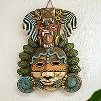 Ceramic mask, 'Olmec Jade and Jaguar' - Signed Handcrafted Mexican Ceramic Jaguar-Man Mask