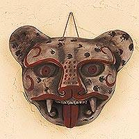 Ceramic mask, 'Jaguar Head' - Handcrafted Mexican Ceramic Jaguar Mask