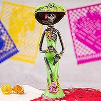 Ceramic sculpture, 'Dazzling Catrina' - Day of the Dead Catrina Sculpture Artisan Crafted