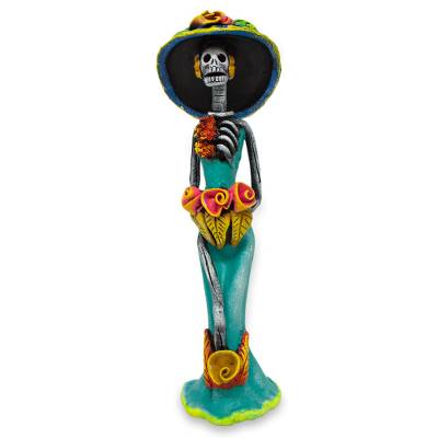 Ceramic sculpture, 'Catrina the Beautiful' - Day of the Dead Catrina Ceramic Sculpture Crafted by Hand