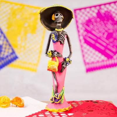 Ceramic sculpture, 'Gorgeous Catrina' - Catrina Day of the Dead Ceramic Sculpture from Mexico